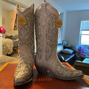 White Sparkly Corral Boots